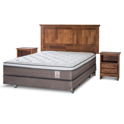 Box Spring 2 Plazas New Style 6 + Set Maderas Giorgio