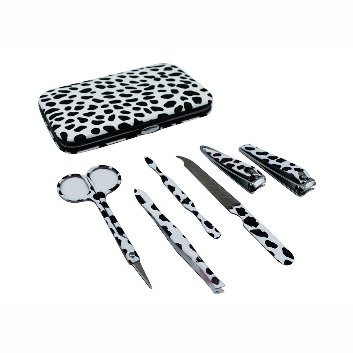 Set de Manicure, 7 Piezas Negro y Blanco