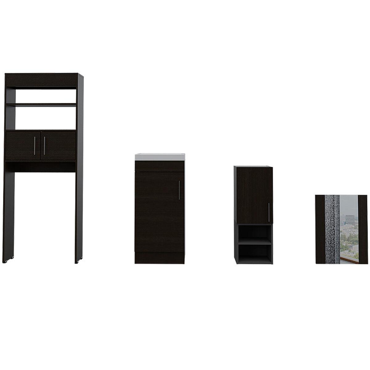 Set Muebles Ahorrador + Auxiliar + Lavamanos + Espejo Flotante