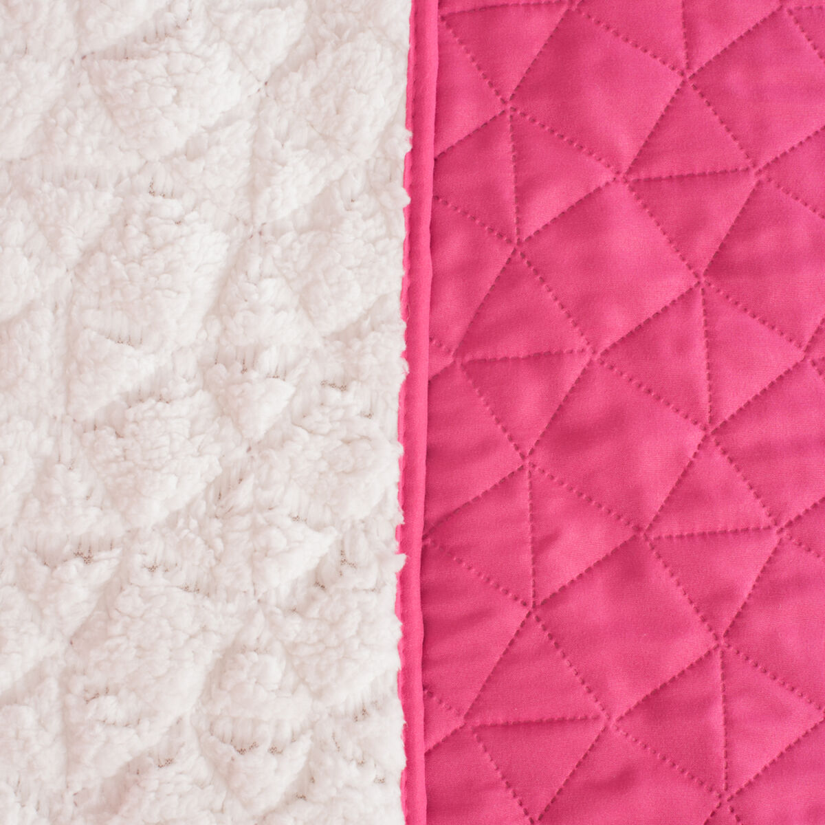 Cubrecama Heat Press Sherpa Stone Pink 2 Plazas
