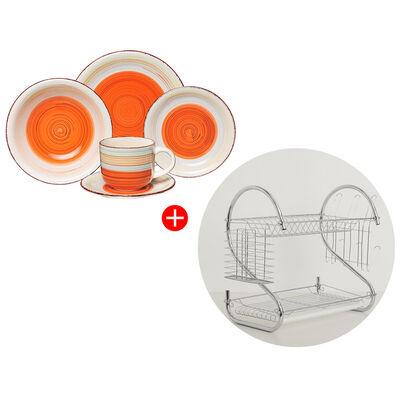 Combo Juego de Vajilla D&M Antique Orange 30 Piezas + Escurridor de Platos Lucero Chrome Plateado