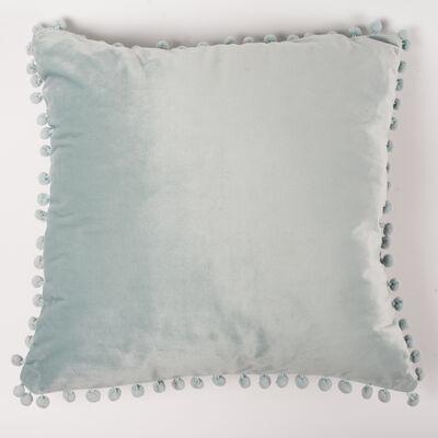 Cojín Velvet con Pompones Aqua 45 x 45 cm