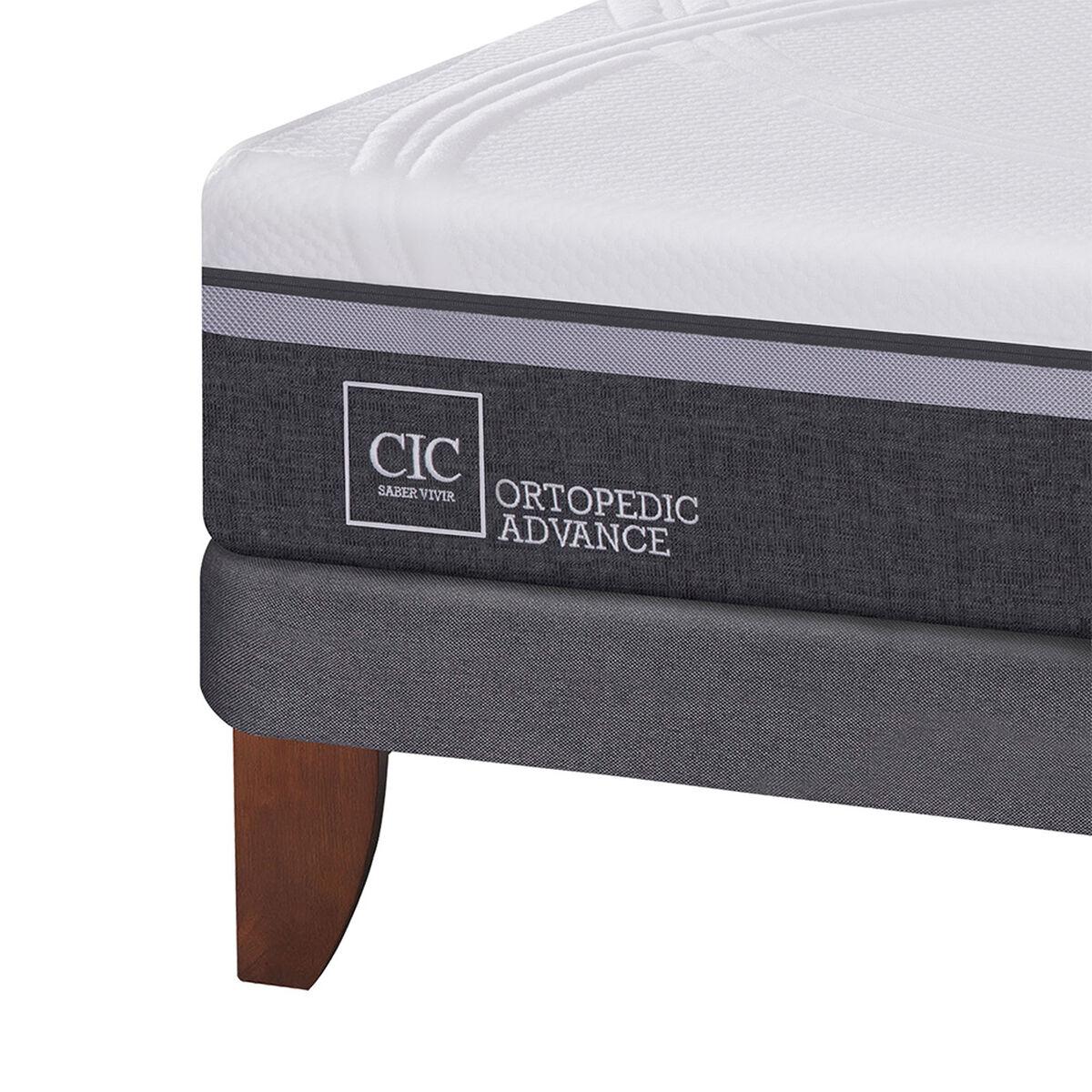 Cama Europea CIC 1,5 Plazas Ortopedic Advance + Respaldo + Velador