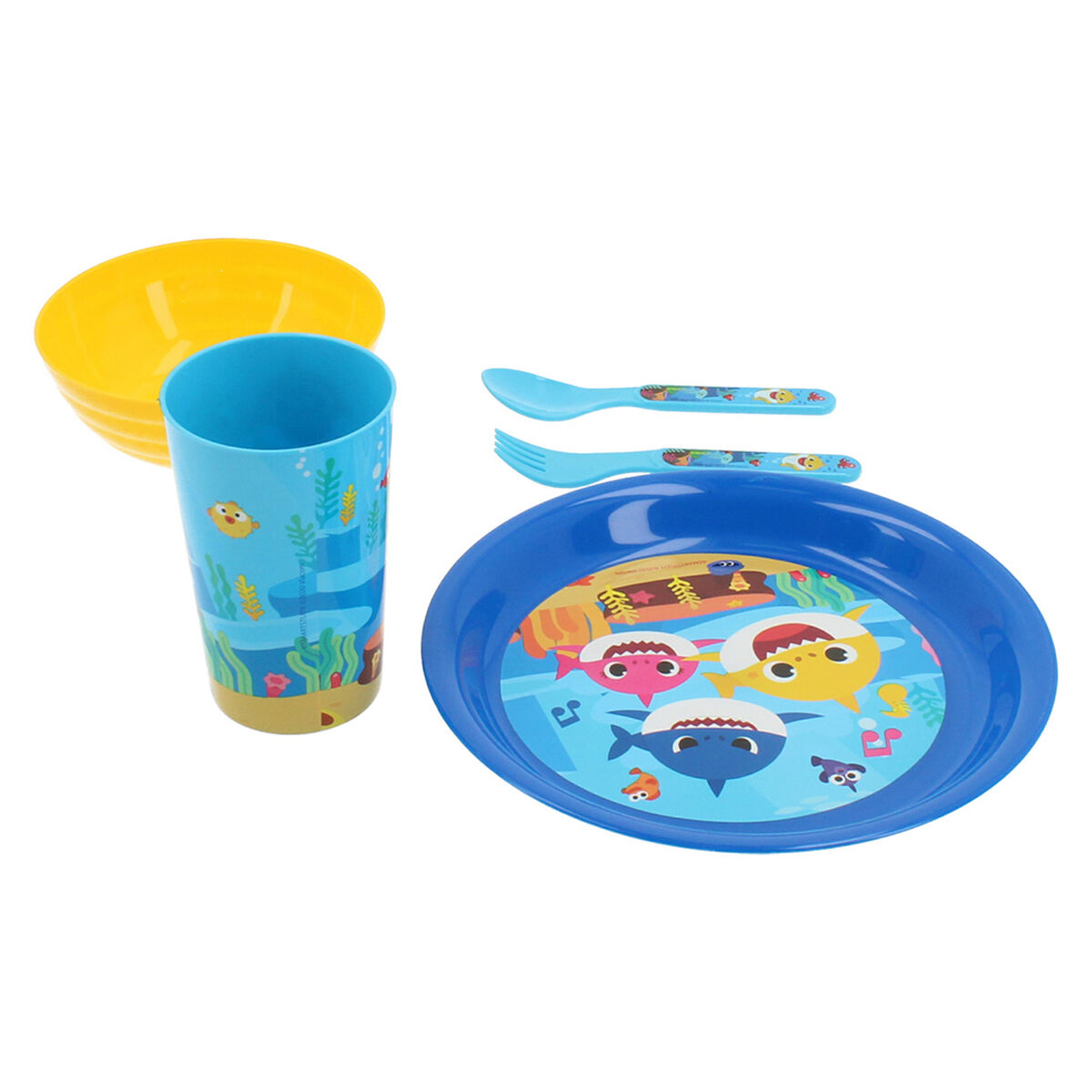 Set 5 Piezas Vajilla Infantil Baby Shark Celeste