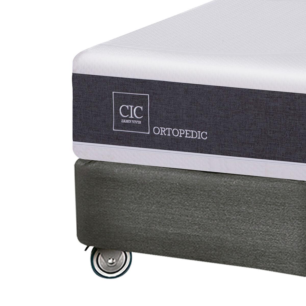 Box Spring CIC Base Dividida King New Ortopedic + Plumón + Almohadas