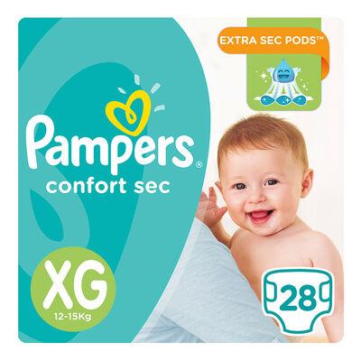 Pañales PAMPERS Confort Sec talla XG 28 unids