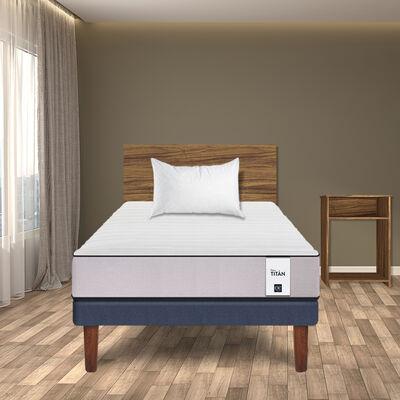 Combo Cama Europea CIC 1,5 Plazas New Titán + Set Maderas Nogal + Almohada Imperial Soft