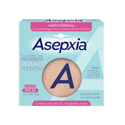 Asepxia Maquillaje Polvo Compacto Beige Claro 10 gr