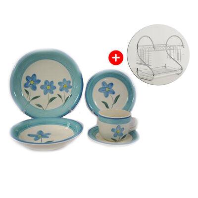 Combo Juego de Vajilla D&M Florencia Azul 30 Piezas + Escurridor de Platos Lucero Chrome Plateado