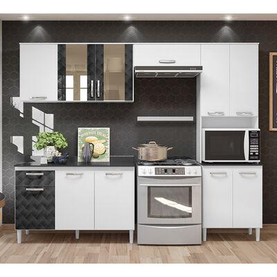 Mueble de Cocina Wake Blanco-Negro 11 Puertas 1 Cajón