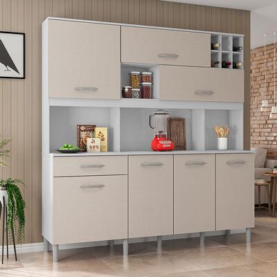 Mueble de Cocina Luna Blanco-Café 7 Puertas 1 Cajón