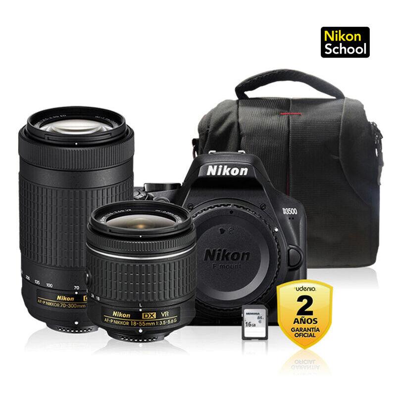 Cámara Réflex Nikon D3500 + Kit 18-55MM AF-P VR DX + 70-300MM AF-P + Bolso + Memoria 16 GB