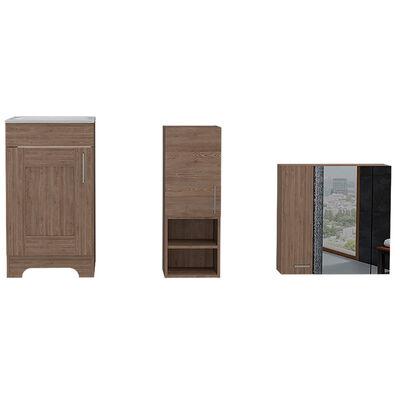 Set Muebles Lavamanos + Auxiliar + Gabinete Espejo + Lavamanos