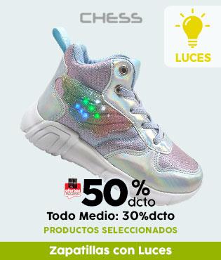 Zapatillas con luces 50%Tlp, 30%OMP