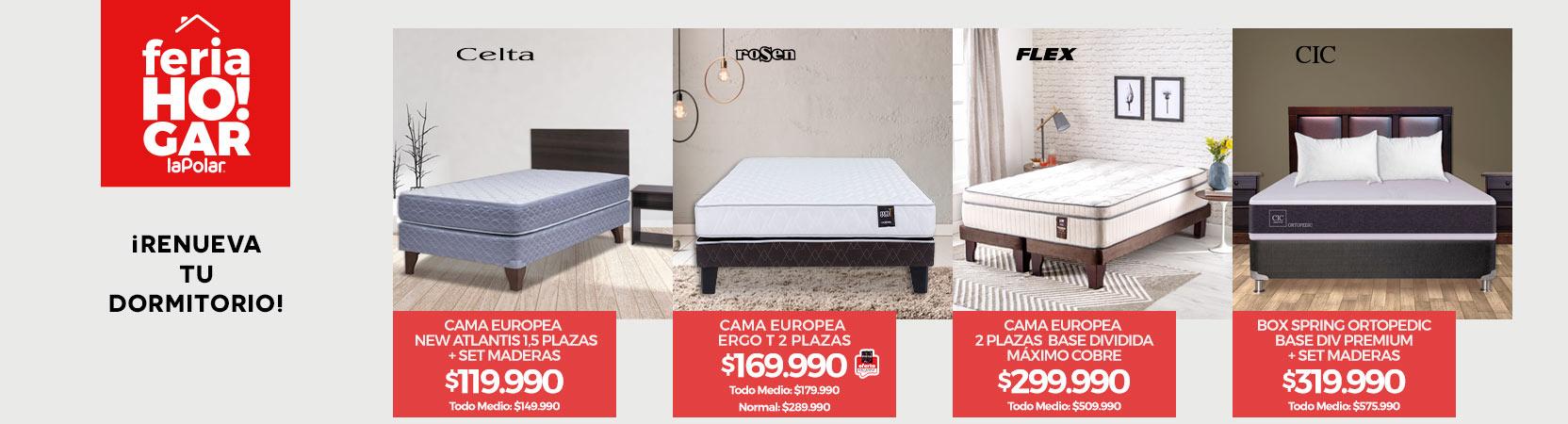 ¡Renueva tu Dormitorio!   Cama Europea New Atlantis 1.5 Plazas + Set Maderas