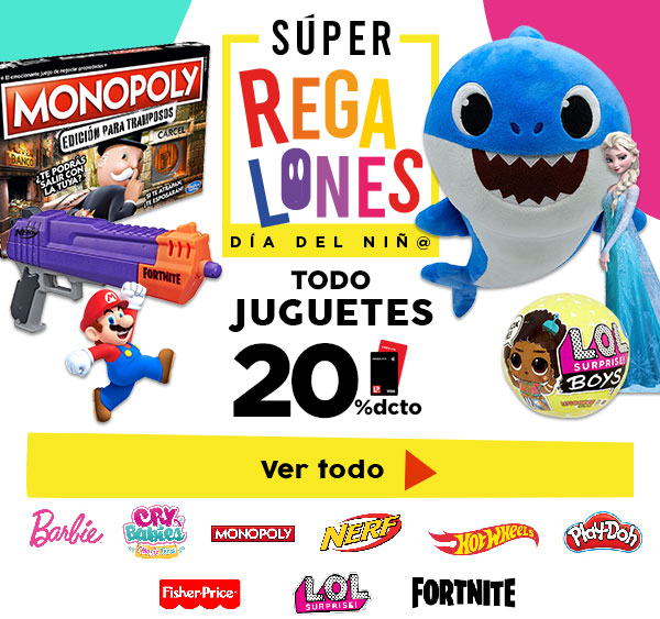 JuguetesBarbie, HotWheels, Play-Doh, Monopoly,Fisher Price, LOL, Nerf, Cry Babies, Fornite