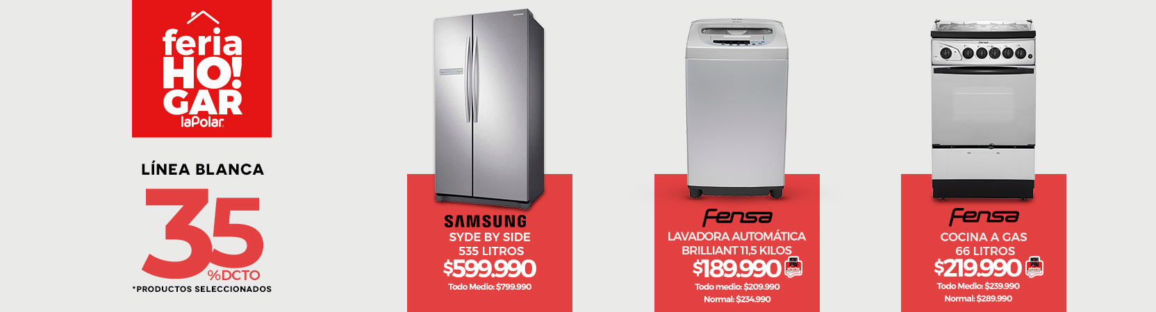 Feria Hogar   35% dcto. en Línea Blanca *Productos Seleccionados   Refrigerador Samsung Side by Side RS54N3003SL 535 lt.