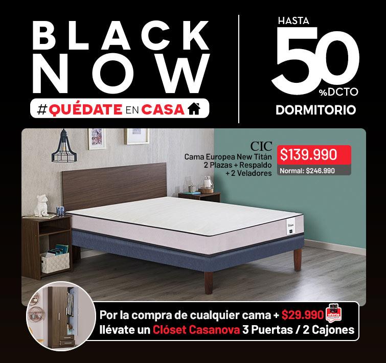 Hasta 50% dcto. en Dormitorio | Cama Europea Cic New Titan 2 Plazas + Respaldo + 2 Veladores