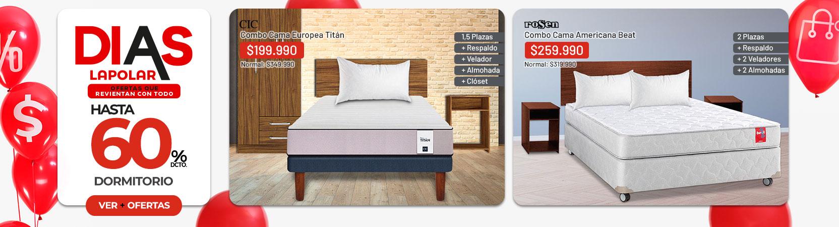 Dormitorio hasta 60% dcto.