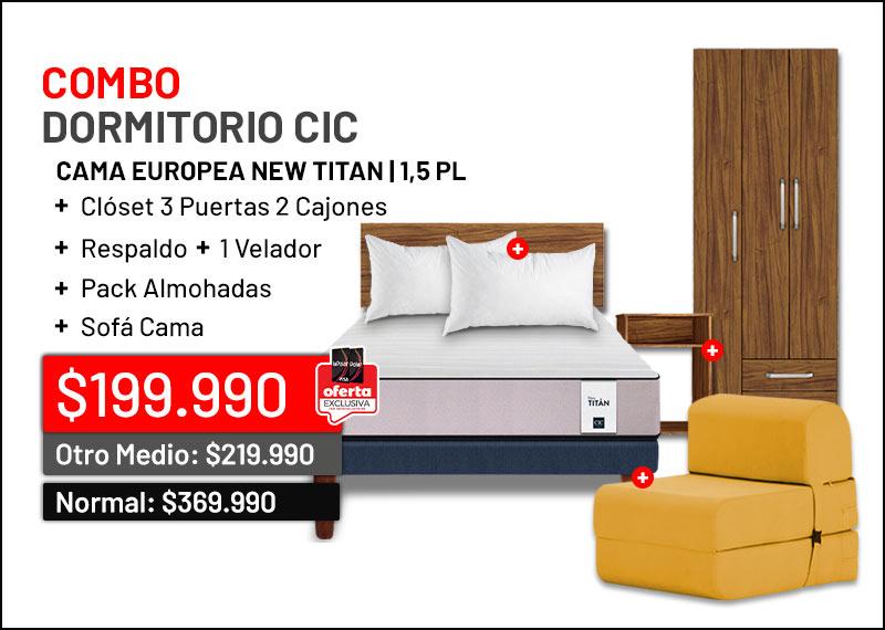 Combo Cama Europea 1,5 Plazas New Titan + Respaldo + Velador + Pack Almohadas + Closet + Sofa Cama