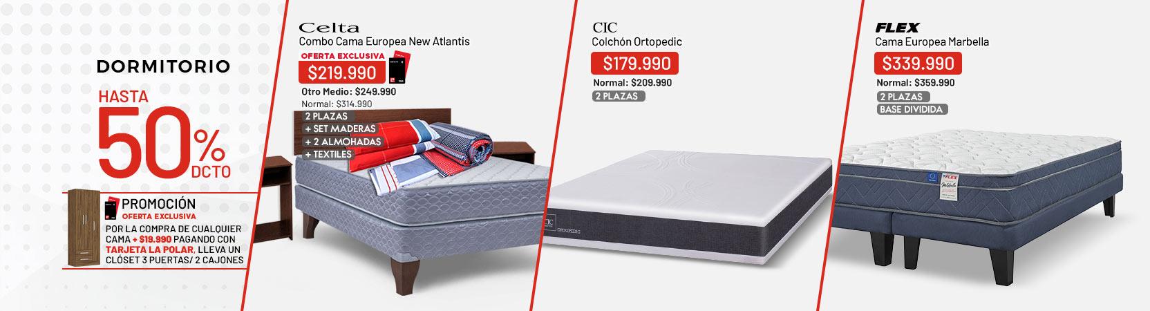 Dormitorio Hasta 50% dcto. Por la compra de cualquier cama + $19.990 pagando con Tarjeta la Polar, llévate un Clóset  3 Puertas 2 Cajones