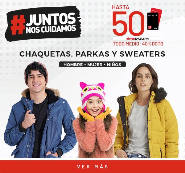 50% tlp/ 40 tmp shaquetas y parkas y sweaters hombre mujer y niño