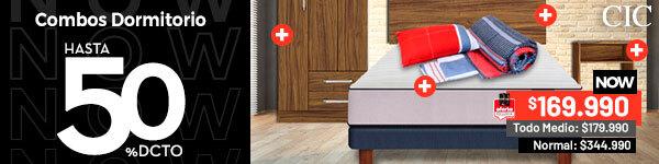 Hasta 50% dcto. en Combos Dormitorio | Cama Europea Cic 1,5 Plazas Titan + Set Maderas + Set Textiles + Almohada + Clóset