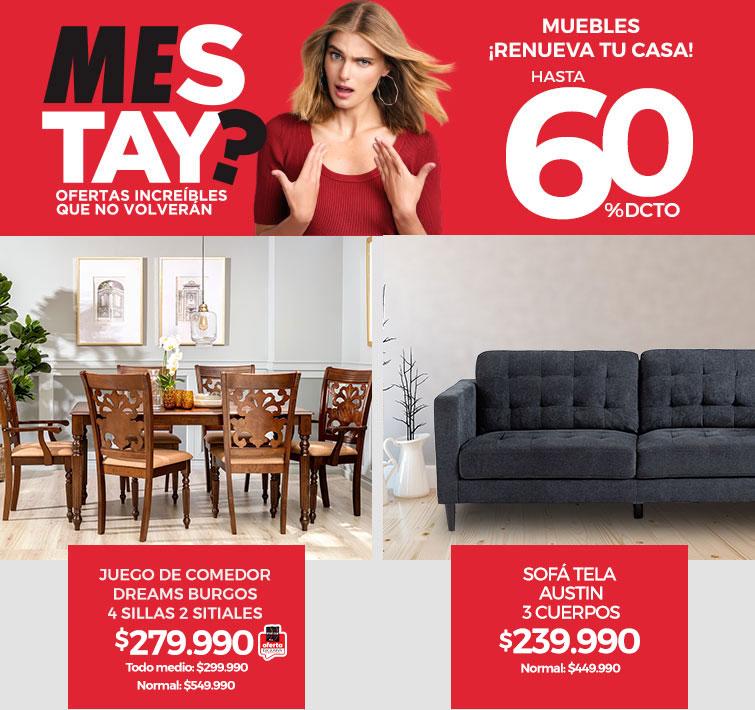 Hasta 60% dcto. en Muebles | ¡Renueva tu casa! | Juego de Comedor Dreams Burgos 4 Sillas 2 Sitiales