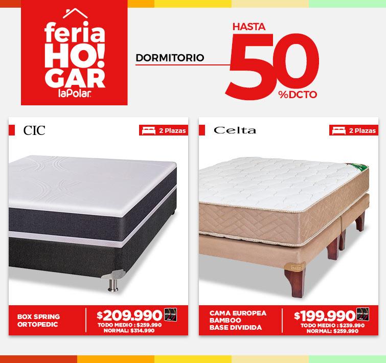 Hasta 50% dcto. en Dormitorio | + Logos CIC, Flex, Rosen, Celta | Cama Europea Celta 2 Plazas Base Dividida Bamboo