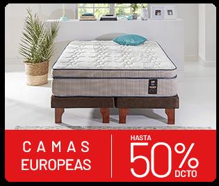 camas europeas hasta 50% de descuento